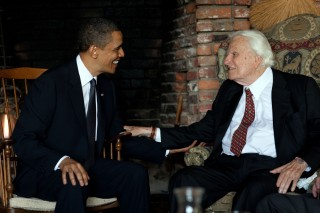 President Barack Obama meets with Rev. Billy Graham at his house in Montreat, N.C., April 25, 2010. (Official White House Photo by Pete Souza) This official White House photograph is being made available only for publication by news organizations and/or for personal use printing by the subject(s) of the photograph. The photograph may not be manipulated in any way and may not be used in commercial or political materials, advertisements, emails, products, promotions that in any way suggests approval or endorsement of the President, the First Family, or the White House.